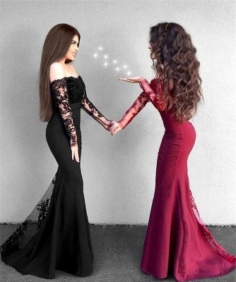 Off The Shoulder Sexy Lace Evening Dresses | Long Sleeve Sheath  Prom Dress_3