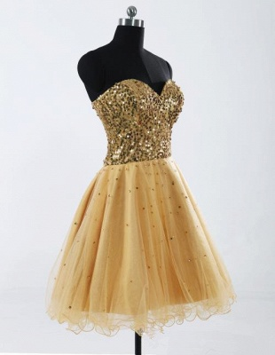 Sweetheart Gold Sequined Mini Homecoming Dress Cute Organza Lace-Up Mini Bridesmaid Dresses CJ0395_2