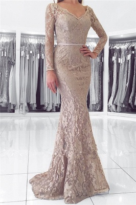 Long Sleeve Lace V-neck Evening Dresses Mermaid Open Back Buttons Grey Prom Dress_1