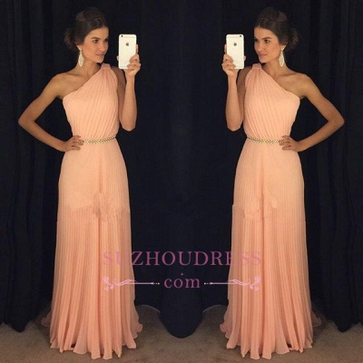 Floor Length Plicated Formal Dress   Chiffon Beautiful One Shoulder Coral Prom Dress GA0001_1