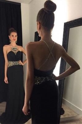Crystal Black Halter  Prom Dress Beading Crossed Back Sleeveless Party Gown_1