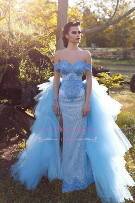 Tulle Blue Lace Glamorous Off-the-shoulder Evening Dress_3