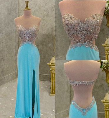 Blue Backless Prom Dresses  Sweetheart Beading Evening Gown with Cutaway Sides CE039_4