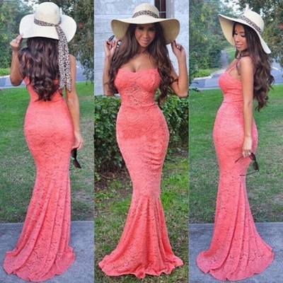 Sexy Full Lace Mermaid Evening Dress  Spaghetti Straps Floor Length Prom Dress_2