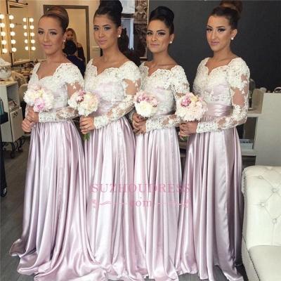 V-neck White-Lace Pink Elegant Popular Long-Sleeve Bridesmaid Dress_1