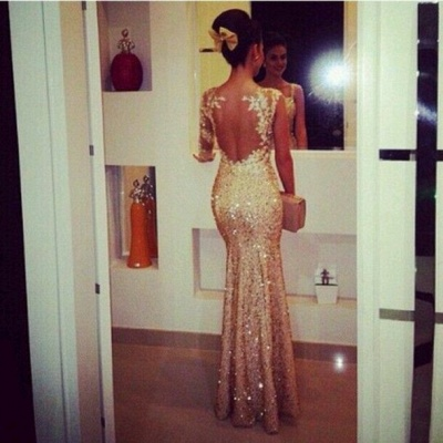 Gold Sequined Open Back Mermaid Prom Dresses with One Shoulder Appliques  Long Evening Dresses_2