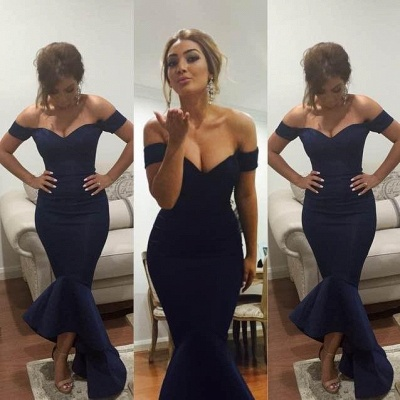 Simple Off Shoulder Mermaid Long Formal Occasion Dress Sexy  Trumpet Plus Size Evening Dress_2