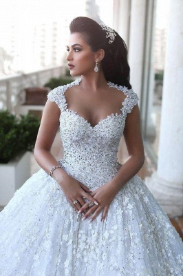 Crystal Lace Ball Gown Wedding Dresses Court Train Beading  Bridal Gowns MH068_5