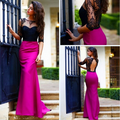 New Arrival Halter Open Back Prom Dress Half Sleeve Lace  Evening Gown_5