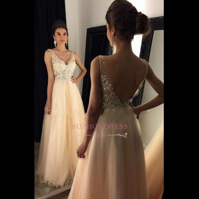 Open Back Lace Champagne Evening Gowns  V-Neck A-line Beaded Long Prom Dresses  GA078 BA4046_1