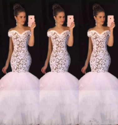 White Off the Shoulder Prom Dresses  | Mermaid Lace Evening Gowns  BA7796_1