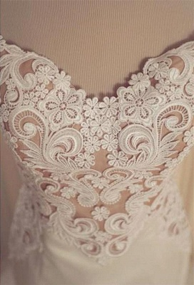 Lace Mermaid Tulle  Wedding Gowns Open Back Sleeveless Sexy Bride Dresses Online_4