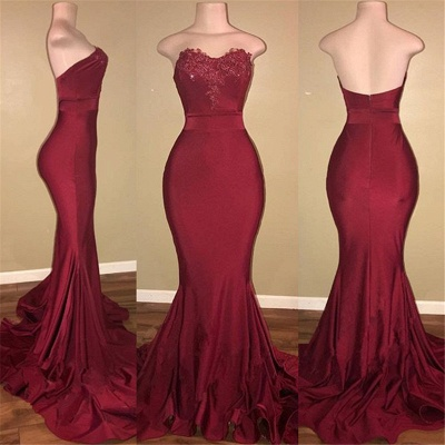 Strapless Burgundy Sexy Burgundy Prom Dress  | Mermaid Long Train Appliques Evening Gown_3