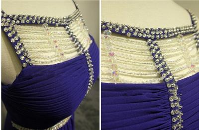 Dark Navy Spaghetti Strap Beading Prom Dresses Crystal Zipper Floor Length  Evening Dresses_3