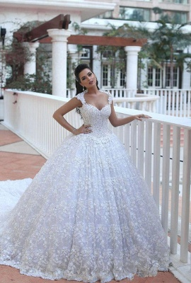 Crystal Lace Ball Gown Wedding Dresses Court Train Beading  Bridal Gowns MH068_1