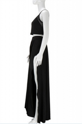 Spaghetti Strap Two Piece Black Summer Dresses A-Line Floor Length Slit  Porm Gowns BA3973_4