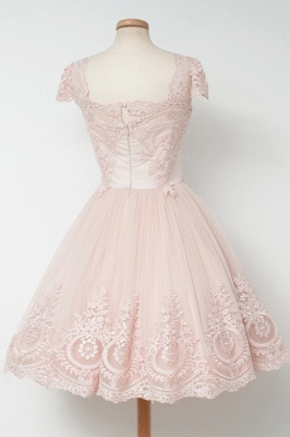 Cute Pink Short Lace Homecoming Dresses Latest Natural Mini Cocktail Gowns_3