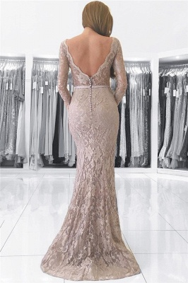 Long Sleeve Lace V-neck Evening Dresses Mermaid Open Back Buttons Grey Prom Dress_3