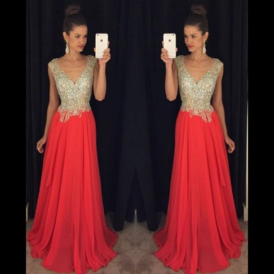 Crystal Plunging Neck Backless Evening Gown New Arrival Short Sleeve Beading Prom Dress GA013_3