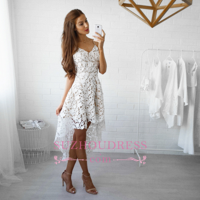Spaghetti Straps Hi-Lo Lace Formal Dress V-Neck White   Homecoming Dresses_1