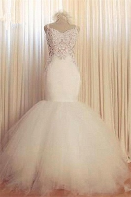 Lace Mermaid Tulle  Wedding Gowns Open Back Sleeveless Sexy Bride Dresses Online_3