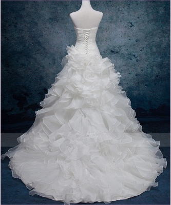 Sexy Sweetheart White Organza Long Wedding Dress Latest Court Train Lace-Up Bridal Gowns_3