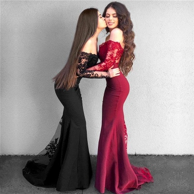 Off The Shoulder Sexy Lace Evening Dresses | Long Sleeve Sheath  Prom Dress_4