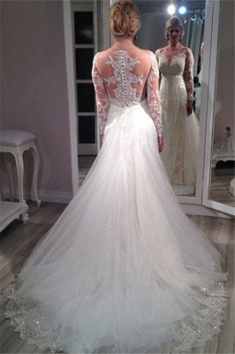 Sheer Scoop Long Sleeve Wedding Dress Sparkly Lace Court Train Bridal Gowns BA4036_5