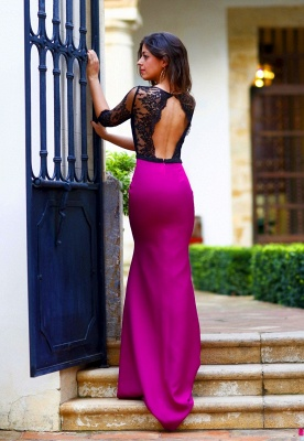 New Arrival Halter Open Back Prom Dress Half Sleeve Lace  Evening Gown_4