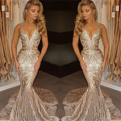 Deep V-neck Champagne Gold Sequins Prom Dresses  Mermaid Sleeveless Sexy Evening Gown FB0007_3