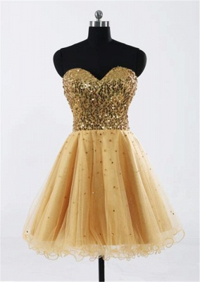 Sweetheart Gold Sequined Mini Homecoming Dress Cute Organza Lace-Up Mini Bridesmaid Dresses CJ0395_1