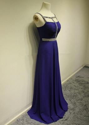 Dark Navy Spaghetti Strap Beading Prom Dresses Crystal Zipper Floor Length  Evening Dresses_4