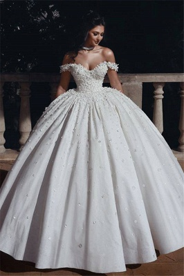 Affordable Off The Shoulder Beaded Appliques Ball Gown Wedding Dresses | Bridal Gowns Online_1