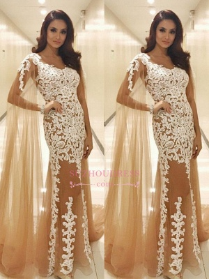Lace Appliques Champagne Tulle Evening Dresses |  Popular Prom Dresses with Cape_3