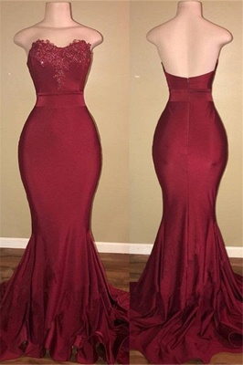 Strapless Burgundy Sexy Burgundy Prom Dress  | Mermaid Long Train Appliques Evening Gown_1