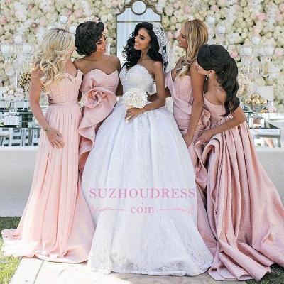 Pink Ruffles Mermaid Long Train  Bridesmaid Dresses_1