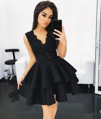 A-line Layers V-Neck Sleeveless Lace Elegant  Short Homecoming Dresses BA6590_3