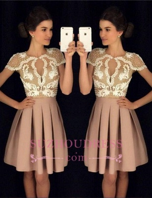 Newest Appliques A-Line Beadings Short-Sleeves Short Homecoming Dresses_2