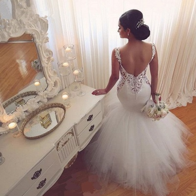 Lace Mermaid Tulle  Wedding Gowns Open Back Sleeveless Sexy Bride Dresses Online_5