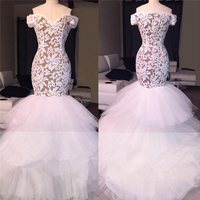 White Off the Shoulder Prom Dresses  | Mermaid Lace Evening Gowns  BA7796_4