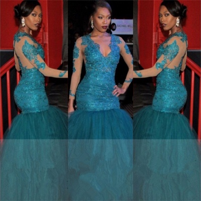V-neck See Through Lace Blue Prom Dresses    Mermaid Puffy Tulle  Graduation Dresses BA6083_3