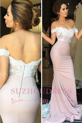 Mermaid Off-the-Shoulder Blush Pink Lace Appliques Prom Dresses_3