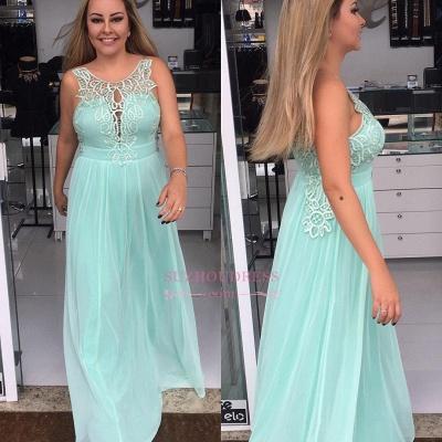 A-line  Prom Dresses | Applique Chiffon Sleeveless Evening Dresses_1