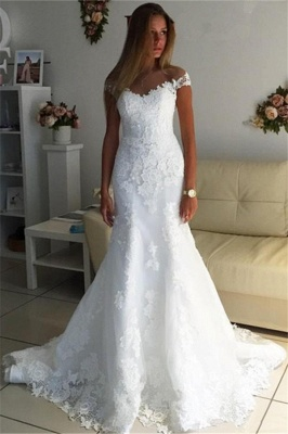 Off The Shoulder Lace Appliques Wedding Dress   Discount Bridal Gowns_1