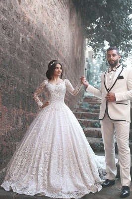 New Arrival Long Sleeve  Bridal Dress Lace Applique Custom Made Wedding Dresses MH069_3