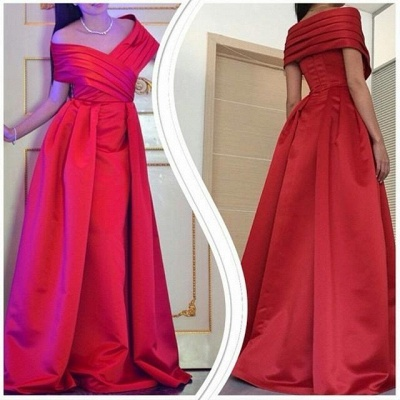 Off Shoulder Red Prom Dresses  Stretch Satin Formal Evening Dress Long_2