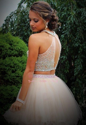 Mini Two-Piece Champagne Halter Crystals Open-Back Discount Organza Short Homecoming Dresses_3