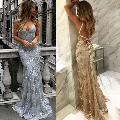 Sexy V-Neck Mermaid Prom Dresses  Sequined Backless Evening Gowns SK0022_5
