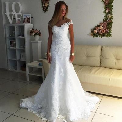 Off The Shoulder Lace Appliques Wedding Dress   Discount Bridal Gowns_3
