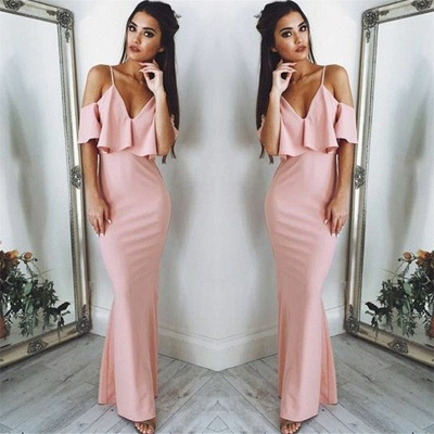 Sexy Pink Evening Dresses   | Floor Length Spaghetti Straps Formal Dresses_3